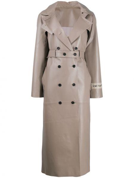 С рукавами серое кожаное пальто с воротником двубортное Ruban