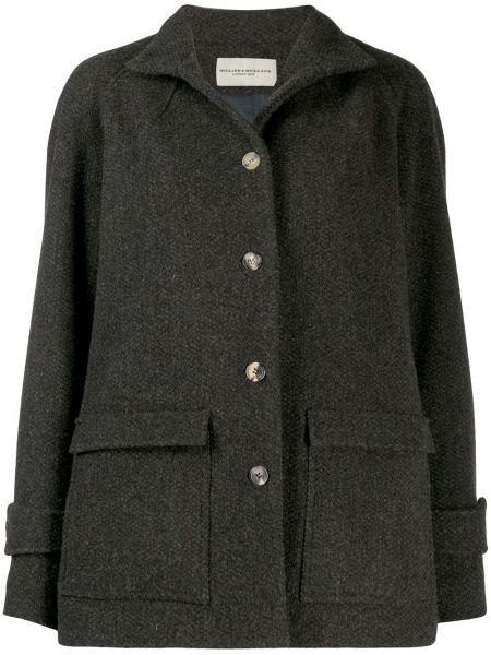 Шерстяное пальто оверсайз с рукавом реглан на пуговицах Holland & Holland