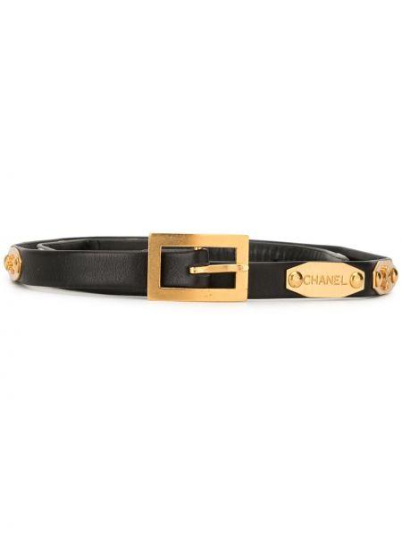 Золотистый черный кожаный ремень Chanel Pre-owned