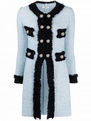 Льняное вязаное черное длинное пальто Charlott