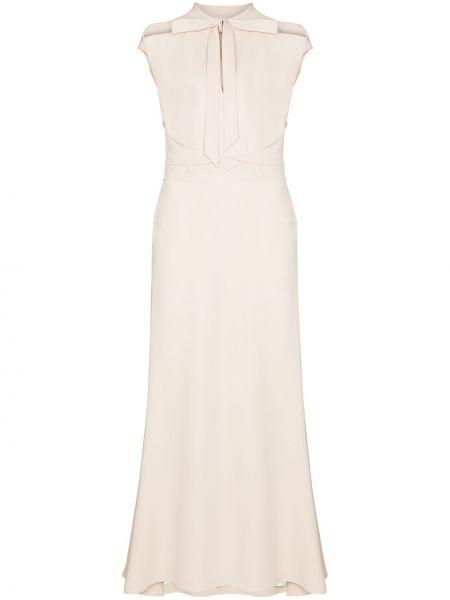 Biała sukienka z jedwabiu perły Roland Mouret