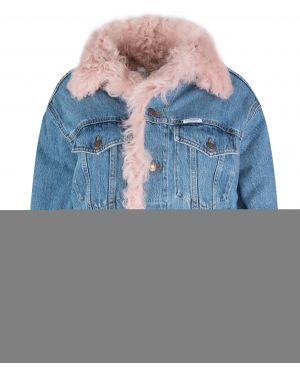 Розовая джинсовая куртка с манжетами с воротником на пуговицах Forte Couture