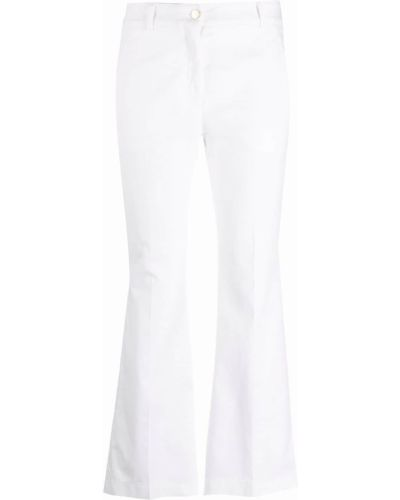 Расклешенные белые укороченные брюки с карманами Incotex