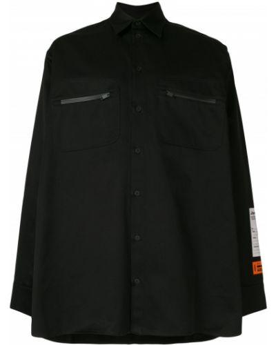 Klasyczny bawełna czarny koszula klasyczna z kieszeniami Heron Preston
