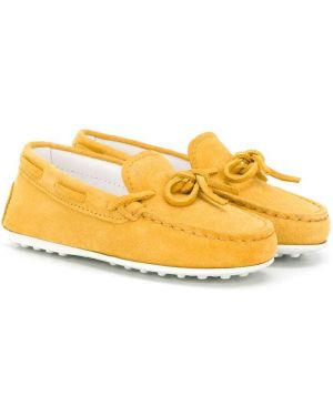 Желтые кожаные мокасины с завязками Tod's Kids