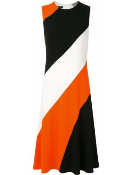 Черное платье миди без рукавов с вырезом со вставками Escada