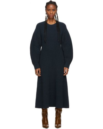Wełniany niebieski z rękawami długo sukienka z mankietami Givenchy