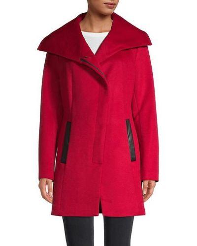 Красное шерстяное длинное пальто с воротником Soia & Kyo