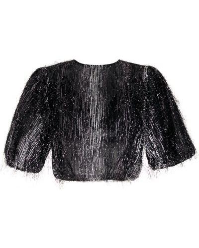 Шелковая черная блузка с вырезом НК