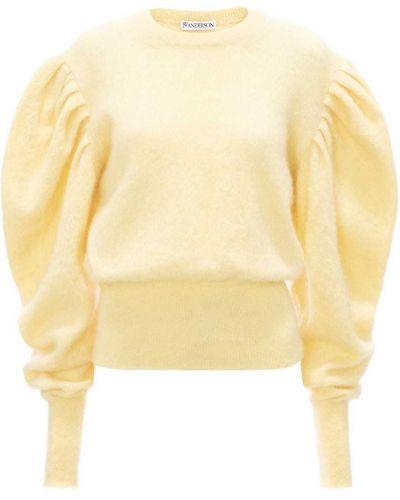 С рукавами желтый джемпер из мохера с круглым вырезом Jw Anderson