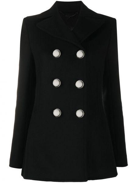 Шерстяной черный удлиненный пиджак двубортный Paco Rabanne