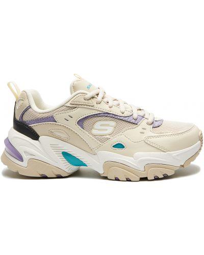 Кожаные белые кроссовки беговые для бега Skechers