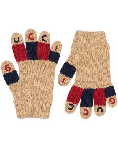 Шерстяные перчатки с вышивкой Gucci