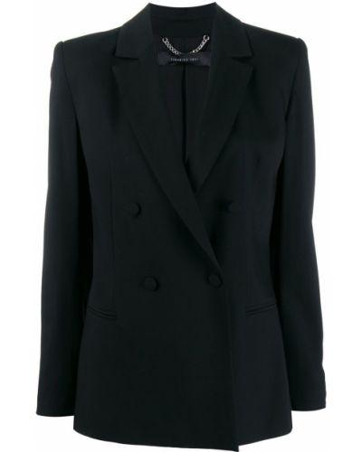 Черный приталенный удлиненный пиджак с карманами Federica Tosi