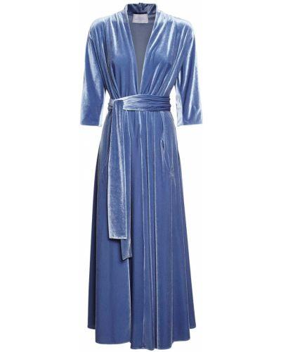 Бархатное синее платье миди с поясом Luisa Beccaria
