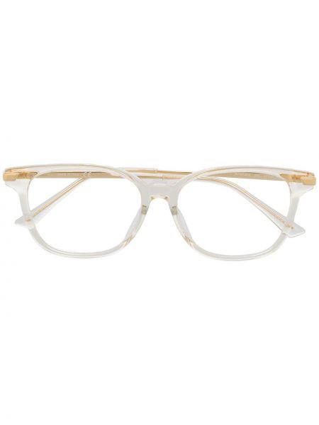 Белые очки квадратные металлические прозрачные Bottega Veneta Eyewear