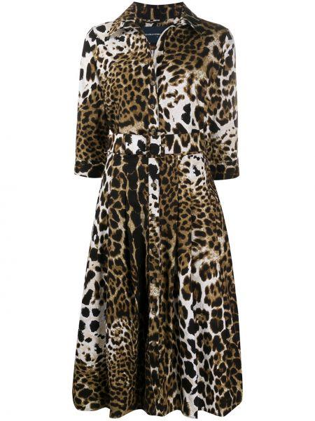 Платье с поясом на пуговицах леопардовое Samantha Sung