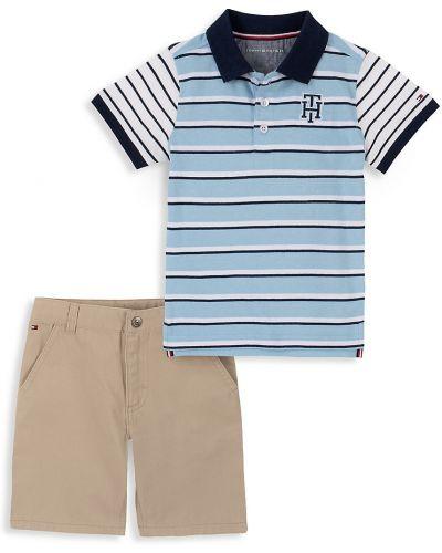 Синие шорты с карманами с воротником с короткими рукавами Tommy Hilfiger