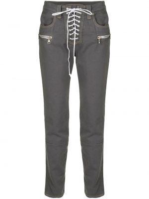 Прямые хлопковые черные прямые джинсы на молнии Unravel Project