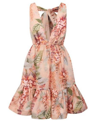 Хлопковое розовое платье с подкладкой Zimmermann