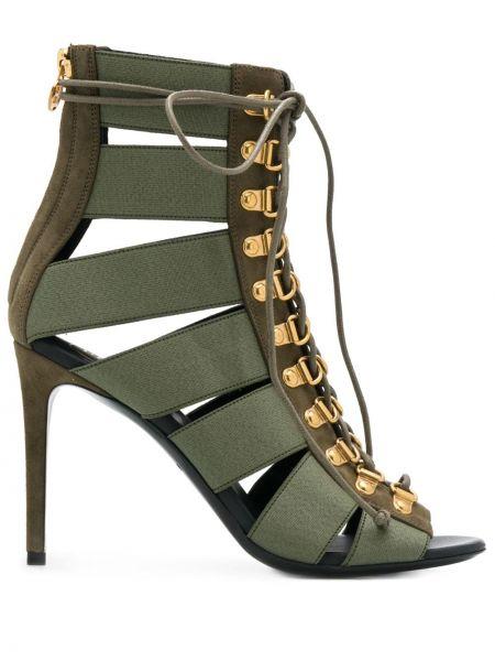 Кожаные открытые босоножки на высоком каблуке на каблуке на молнии Balmain