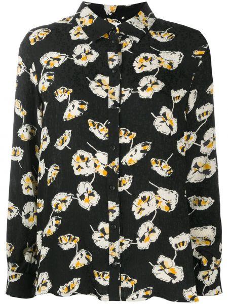 С рукавами черная блузка с воротником Ba&sh