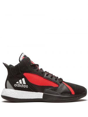 Кожаные черные высокие кроссовки на шнуровке Adidas