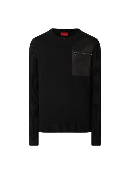 Z rękawami wełniany czarny sweter z dekoltem Hugo