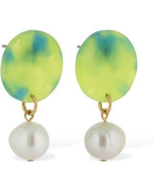 Zielone kolczyki sztyfty perły srebrne Aym
