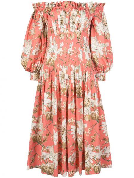 Розовое приталенное облегающее платье с карманами с открытыми плечами Oscar De La Renta