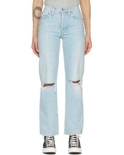 Niebieski z wysokim stanem jeansy z łatami Re/done