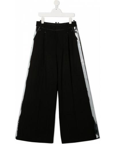 Черные с завышенной талией брюки с полоской по бокам с карманами Diesel Kids