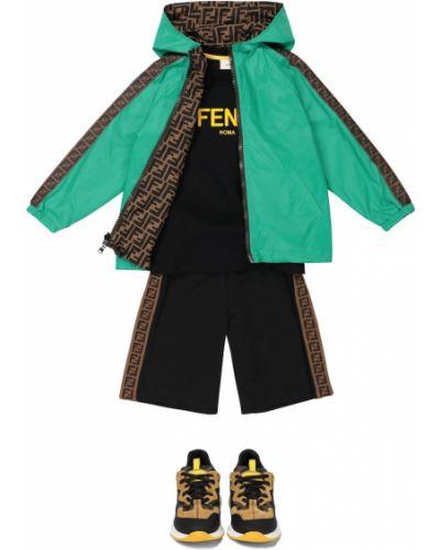 Zielona kurtka z printem Fendi Kids