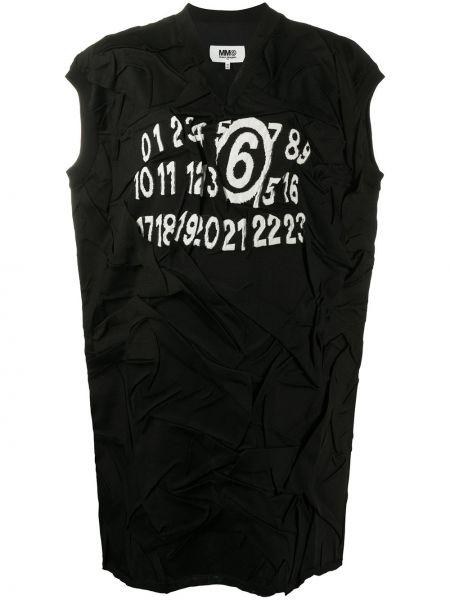 Bawełna czarny sukienka z rękawem z dekoltem w szpic w połowie kolana Mm6 Maison Margiela