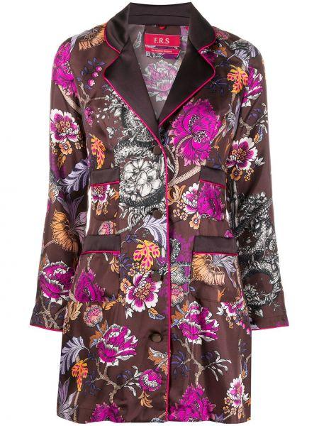 Коричневая шелковая классическая рубашка с воротником на пуговицах F.r.s. For Restless Sleepers