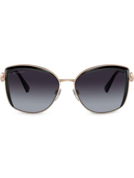 Свободные желтые солнцезащитные очки металлические Bvlgari