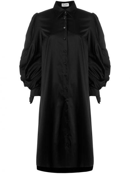 Черная прямая блузка с длинным рукавом с оборками на пуговицах Balossa White Shirt