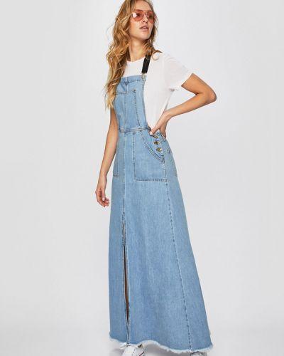Джинсовое платье с карманами макси Silvian Heach