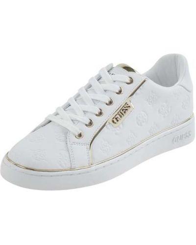 Biały włókienniczy sneakersy z logo zasznurować Guess