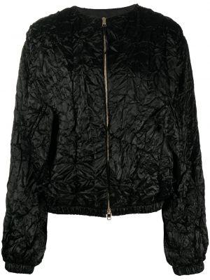 Czarna długa kurtka wełniana z długimi rękawami Rochas