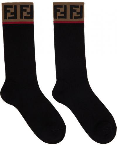 Bawełna czarny wysoki skarpety rozciągać z mankietami Fendi