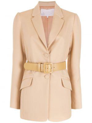 Розовый классический пиджак с поясом на пуговицах Nk