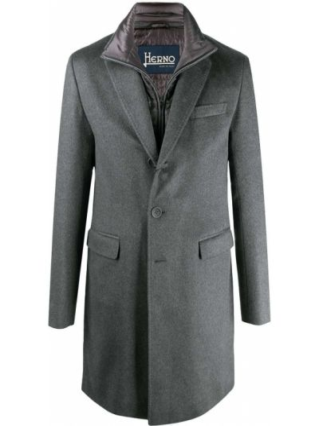 Kaszmir z rękawami jednorzędowy długi płaszcz z kieszeniami Herno