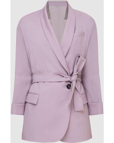 Фиолетовый шерстяной пиджак Brunello Cucinelli