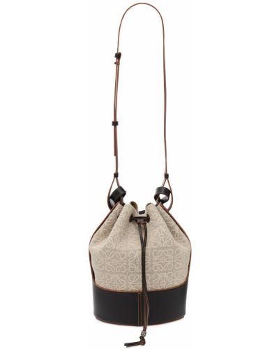 Ze sznurkiem do ściągania z paskiem skórzana torebka z prawdziwej skóry Loewe