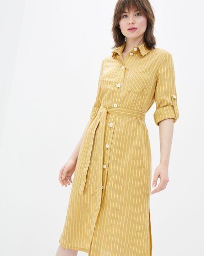 Прямое платье в полоску с поясом Danna
