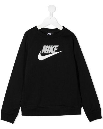 Прямая хлопковая черная толстовка Nike Kids