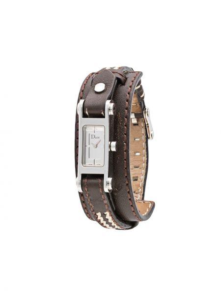 Z paskiem srebro skórzany zegarek na skórzanym pasku z klamrą Christian Dior