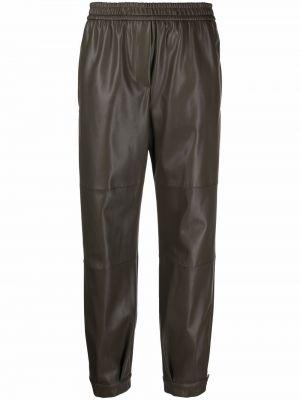 Кожаные брюки - зеленые Nude