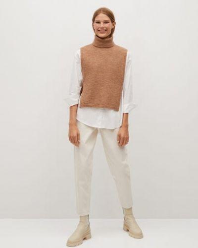 Коричневый акриловый свитер на резинке с воротником Mango